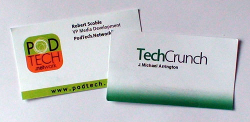 Mike Arrington and Robert Scoble Business cards