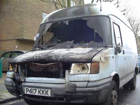 Burned out van gets parking ticket